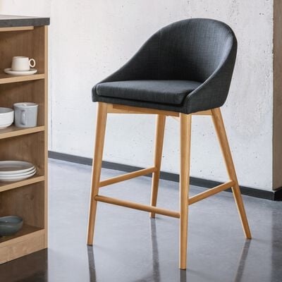 Chaise de bar en tissu gris foncé pieds bois - H66cm-ABBY