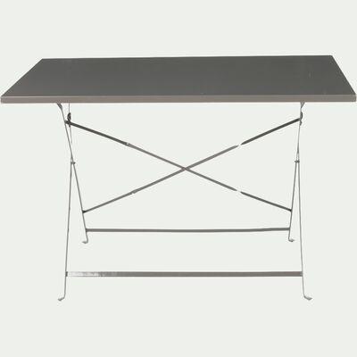 Table de jardin pliante en acier - gris taupe (4 places)-CERVIONE