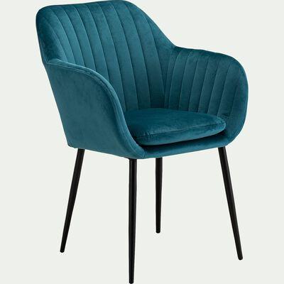 Chaise capitonnée en velours avec accoudoirs - bleu calauna-SHELL