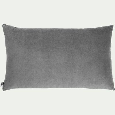 Coussin en velours de coton - gris restanque 30x50cm-EDEN