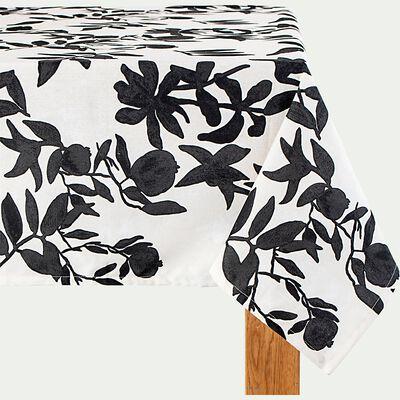 Nappe en coton à motif floral - blanc 170x250cm-MALINI