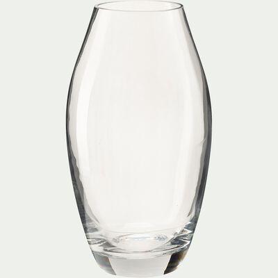Vase conique en verre - transparent H27cm-PHORMIUM