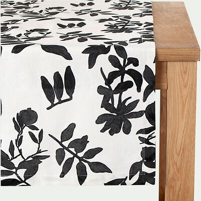 Chemin de table en coton à motif floral - blanc 50x200cm-MALINI