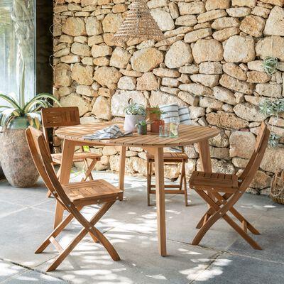 Table de jardin carrée en acacia - naturel (4 places)-ZEPPLIN