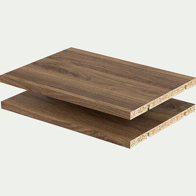 Lot de 2 tablettes en bois- noyer L37cm-BIALA