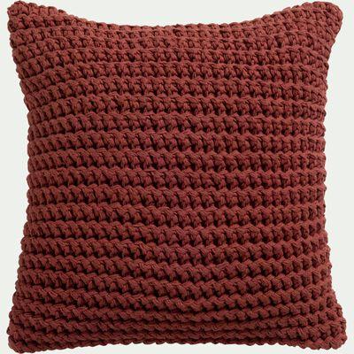 Coussin tricoté en coton - rouge arcilla 45x45cm-NECILLA