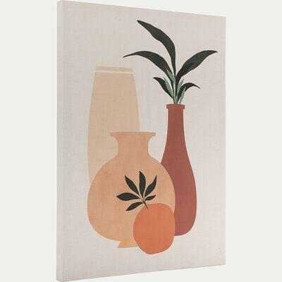 Toile imprimée motif exotique avec palmier L50xl70cm - naturel-AURUOU