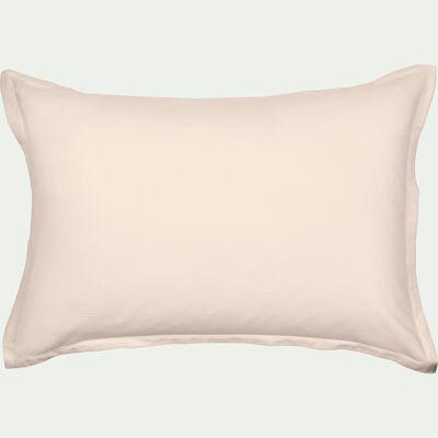 Lot de 2 taies d'oreiller rayées en satin de coton  - rose grège 50x70cm-SANTIS