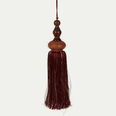 Pompon rouge avec perles D7xH33cm-LUCIA