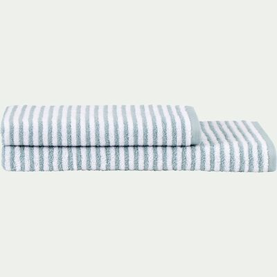 Serviette de toilette rayée en coton - bleu calaluna 50x100cm-Gary
