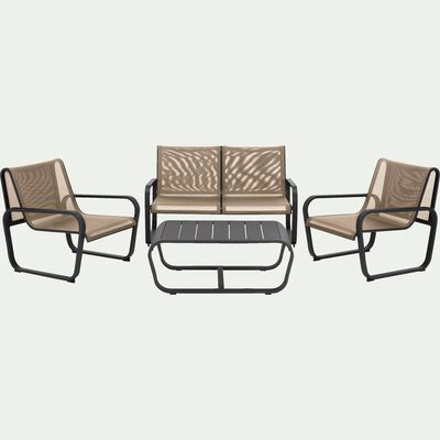 Salon de jardin en aluminium gris anthracite (4 places)-Torca