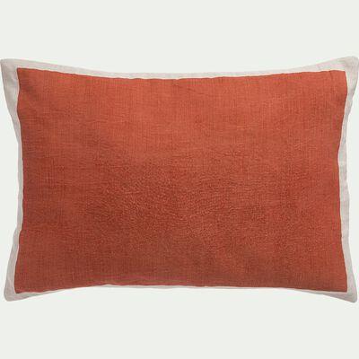 Coussin sérigraphié en lin et coton - brun rustrel 40x60cm-OTA