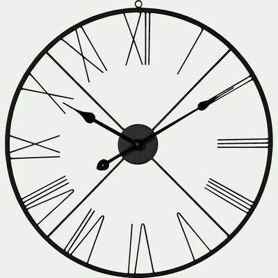 Horloge murale en fer noir D60cm-ROMANE