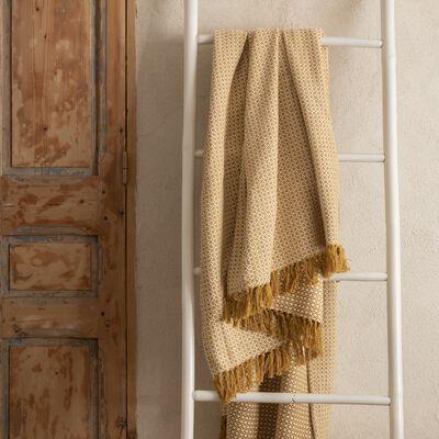 Plaid à franges et motifs en coton - jaune argan 130x170cm-PARA