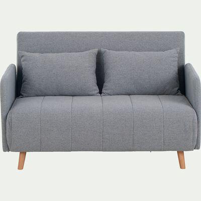 Canapé 2 places convertible en tissu - gris clair-CALLAS