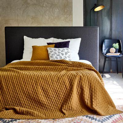 Couvre-lit en tissu surpiqué - jaune alep 230x250cm-BENITO