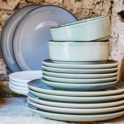 Assiette plate en faïence gris restanque D27cm-LANKA
