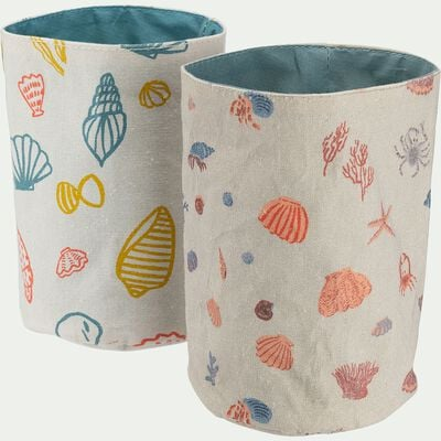 Lot de 2 petits pochons motifs marin - blanc nougat d12cm-Charlotte