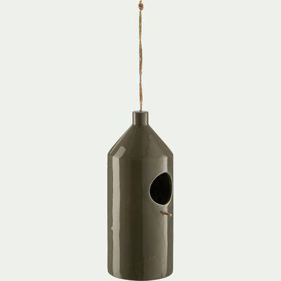 Mangeoire à oiseaux en céramique - vert D11xH30cm-PRISCA