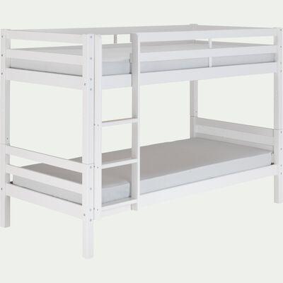 Lit superposé modulable en bois 90x200cm avec sommier à lattes - blanc-NORIS