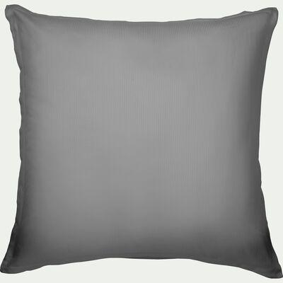 Lot de 2 taies d'oreiller rayées en satin de coton - gris restanque 65x65cm-SANTIS