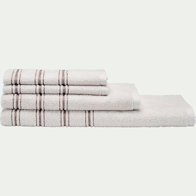 Serviette de toilette en coton - blanc ventoux 50x100cm-Romy