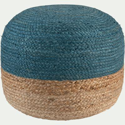 Pouf bicolore en jute - naturel et bleu myrte D50xH40cm-NAIA