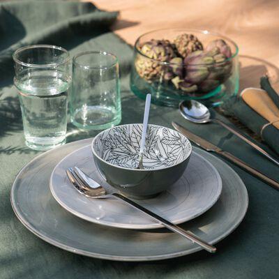 Assiette à dessert en faïence gris clair effet patiné D20.5cm-GASTON