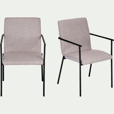 Chaise en tissu avec accoudoirs - gris borie-JASPER