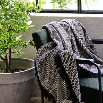 Plaid à franges et motifs en coton - noir 130x170cm-PARA