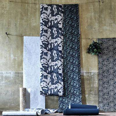 Papier peint intissé motif laurier blanc et noir 10m-LAURIER