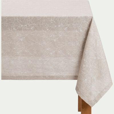 Nappe en lin et coton coloris naturel motifs feuille d'oranger 170X250cm-ST REMY