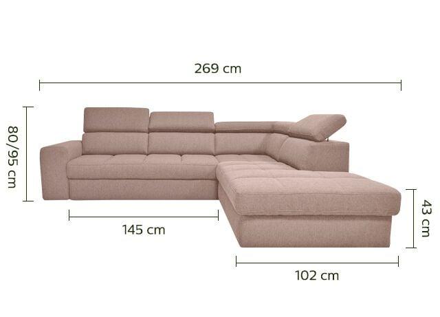 Canapé d'angle droit panoramique convertible en tissu - grège-TONIN