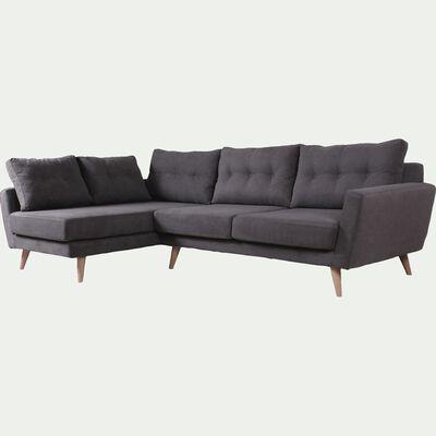 Canapé d'angle fixe gauche en tissu - gris-ICONE