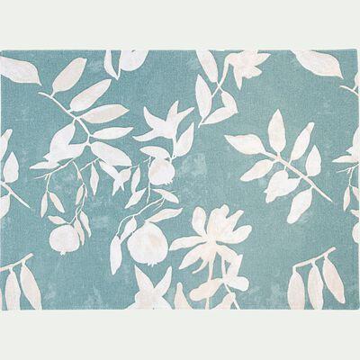 Set de table en coton à motif floral - bleu 35x48cm-MALINI