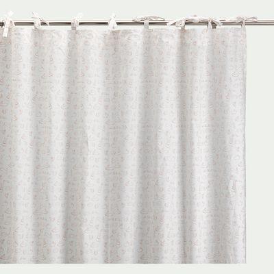 Rideau à nouettes en coton 140x250cm - blanc avec imprimé rose salina-Bestiaire