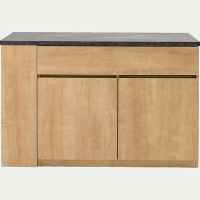 Ilot central de cuisine en bois avec rangement réversible L140cm - naturel-GABIN