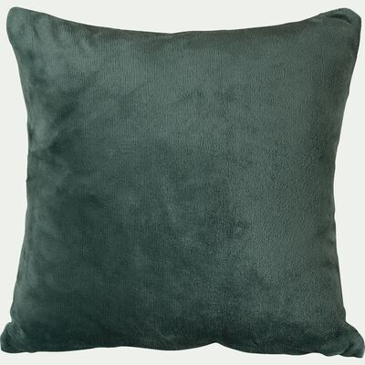 Housse de coussin effet polaire- vert cèdre 40x40cm-ROBIN
