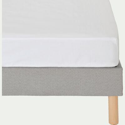 Drap housse en percale de coton - blanc 140x200cm B25cm-FLORE
