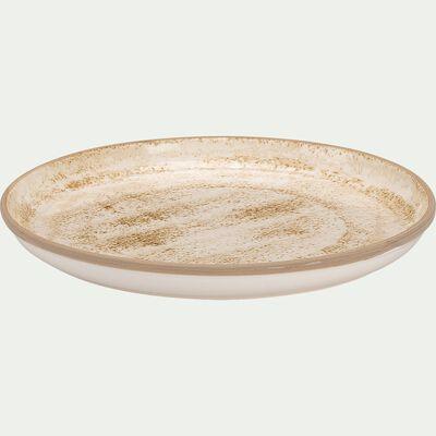 Assiette plate en faïence - marron D27cm-MURZU