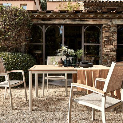 Table de jardin en eucalyptus et aluminium (4 à 6 places) - blanc écru-DOLE