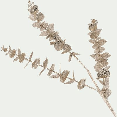 Branchage artificiel d'eucalyptus pailleté - marron H76cm-BATTISTU
