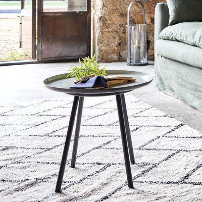 Bout de canapé en acier epoxy avec plateau gris émaillé-VITOUR