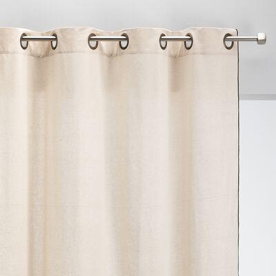Rideau à œillets en coton liseré - blanc écru 140x250cm-LINIA