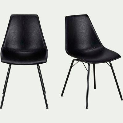 Chaise vintage en simili - noir-BERANGERE