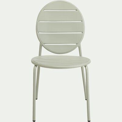 Chaise de jardin empilable en acier - vert olivier-DOUNA