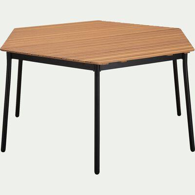Table hexagonale de jardin en aluminium et eucalyptus (4 à 6 places) - naturel-TANOS