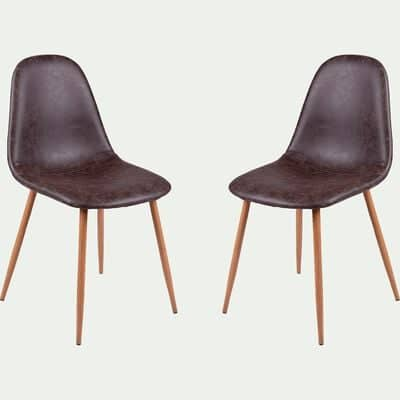 Chaise vintage en simili - marron-CHARLIE