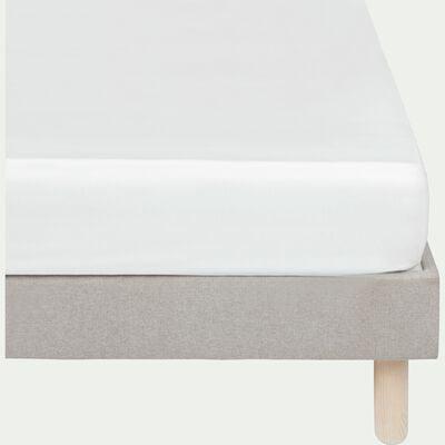 Drap housse rayé en satin de coton - blanc capelan 140x200cm B25cm-SANTIS