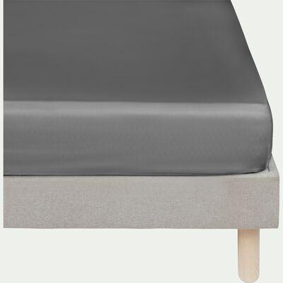 Drap housse rayé en satin de coton - gris restanque 140x200cm B25cm-SANTIS